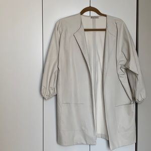 Zara white faux leather jacket
